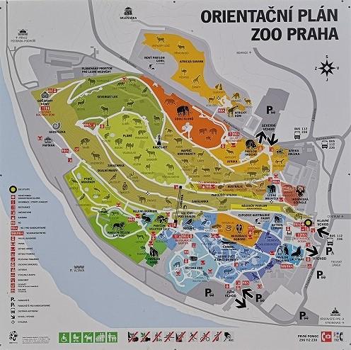 プラハ動物園の園内マップ