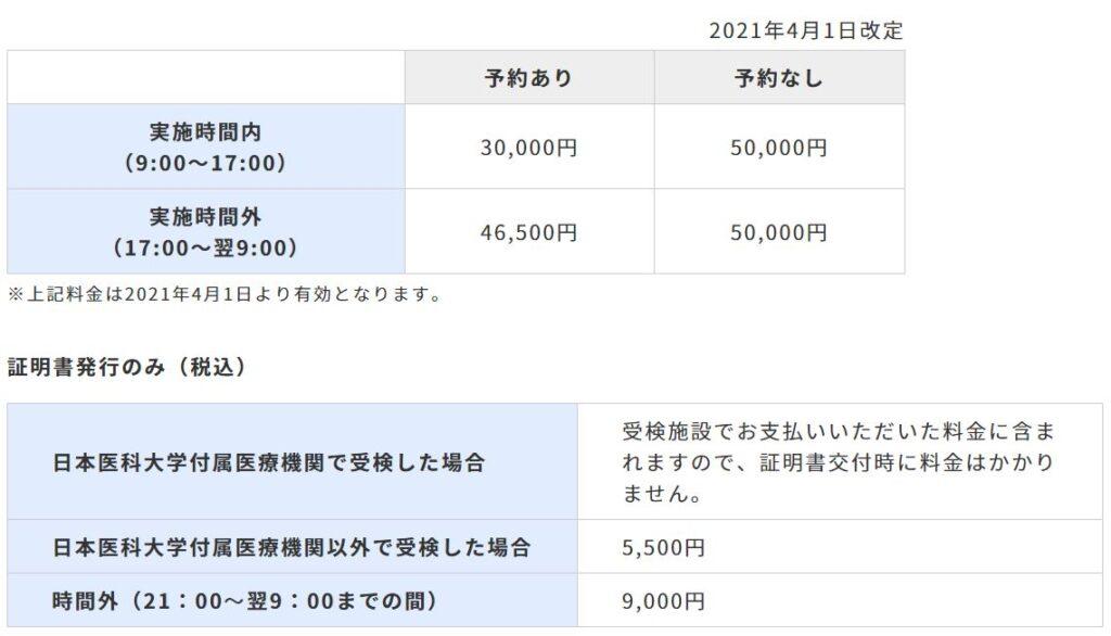 成田空港_PCR検査料金
